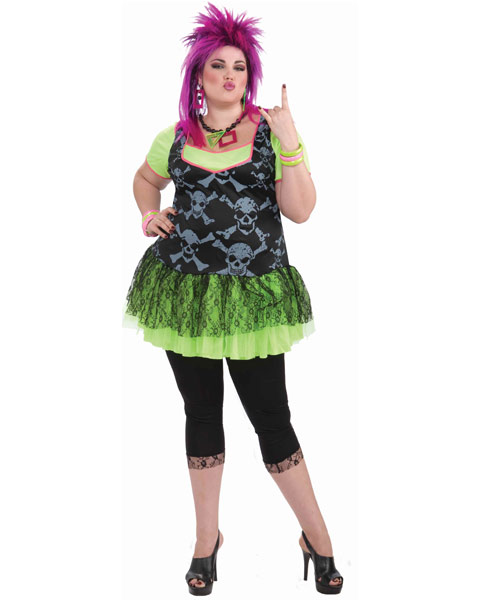 80s Plus Size Punk Lady Costume