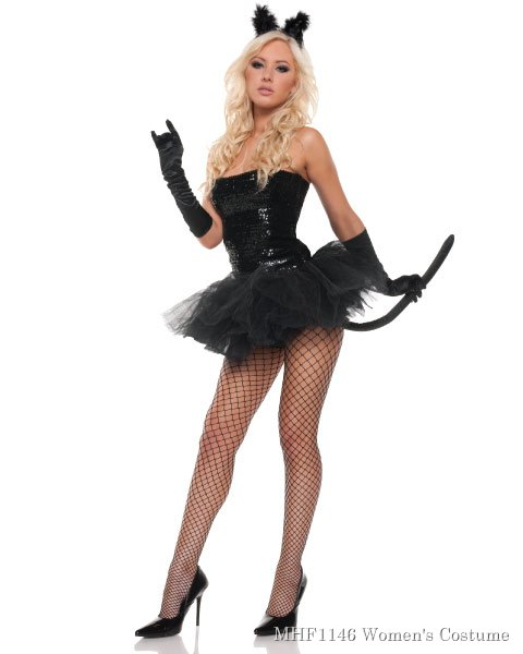 Sexy Sequins Kitty Womens Cat Costume
