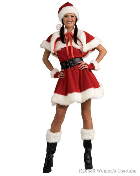 Womens Velvet Miss Santa Adult Sexy Costume