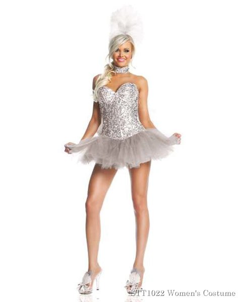 Deluxe Sexy Silver Sequin Show Girl Womens White Swan Costume
